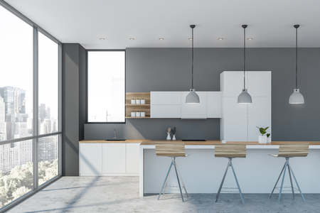 Interior of luxury kitchen with gray walls, concrete floor, white cupboards and countertops and white bar with stools. 3d rendering