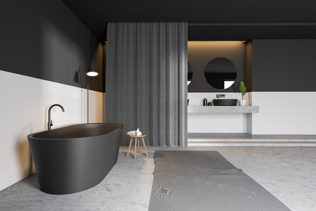 Side view of modern bathroom with gray and white walls, concrete floor, gray bathtub, double sink and curtains. 3d rendering