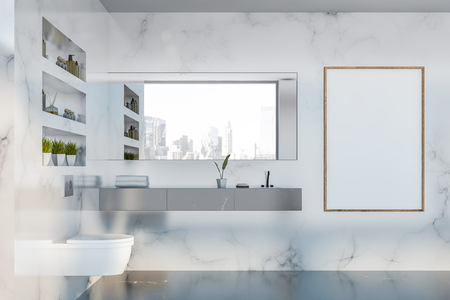 Interior of modern bathroom with white marble walls, black marble floor, sink with large mirror and toilet. Vertical mock up poster frame. 3d rendering Standard-Bild - 124704534