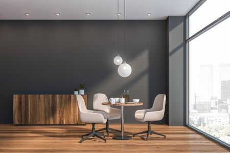 Interior of modern dining room in Scandinavian style with gray walls, wooden floor, round table with white chairs and comfortable cupboard. Window with cityscape. 3d rendering