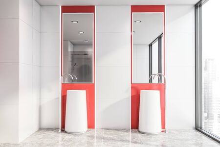 Interior of panoramic bright bathroom with white tile and red walls, concrete floor and double sink with mirrors above it. 3d rendering