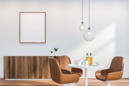 Interior of modern dining room in Scandinavian style with white walls, wooden floor, round table with leather chairs and comfortable cupboard with mock up poster above it. 3d rendering