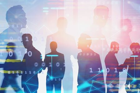 Silhouettes of diverse business team members in blurred city with double exposure of network hologram and binary numbers. Concept of technology and communication. Toned image Imagens