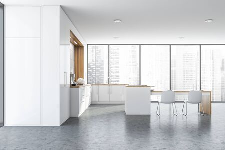 Interior of spacious panoramic kitchen with concrete walls and floor, white countertops with built in cooker and wooden table with chairs. 3d rendering Standard-Bild - 124973121