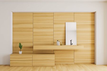 Interior of modern bathroom with white and wooden walls, wooden floor, wooden sink with mirror on it and wooden cabinets. 3d rendering