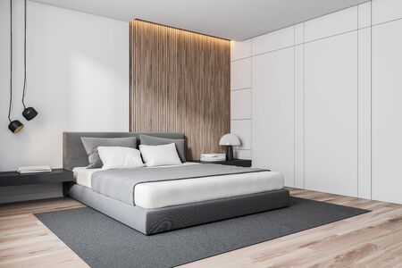 Corner of stylish bedroom with white and wooden walls, wooden floor, gray master bed with black bedside tables and gray carpet. 3d rendering