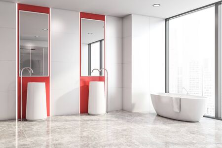Corner of stylish bright bathroom with white and red walls, tiled floor, white bathtub standing near panoramic window and double sink with mirrors above it. 3d rendering