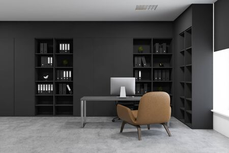 Interior of CEO office with concrete floor, gray computer table with armchair for visitors and black bookcases with folders. 3d rendering