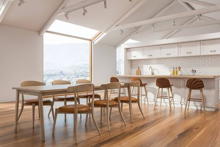 Corner of Scandinavian kitchen with white walls, wooden floor, white countertops, bar with stools and dining table with chairs. Loft windows. 3d rendering