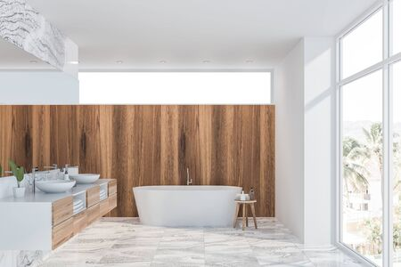 Interior of panoramic bathroom with white, white marble and light wooden walls, tiled floor, double sink with large mirror above it and white bathtub. 3d rendering
