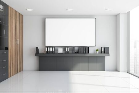 Interior of office hall with white walls, tiled floor, gray shelf with folders and large horizontal mock up poster above it. 3d rendering