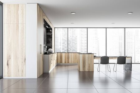 Interior of panoramic kitchen with gray walls, tiled floor, wooden countertops with built in cooker and luxury black marble table with chairs. 3d rendering