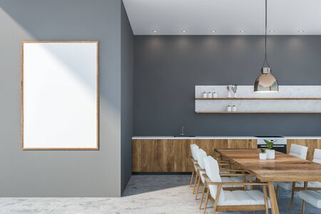 Interior of modern kitchen with gray walls, concrete floor, wooden countertops with built in sink and oven and wooden table with white armchairs. Vertical mock up poster. 3d rendering Standard-Bild - 124973231