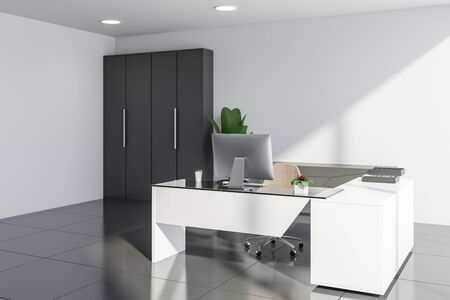 Interior of modern manager office with white walls, tiled floors, white computer desk, gray cabinet and wardrobe. Concept of corporate lifestyle. 3d rendering