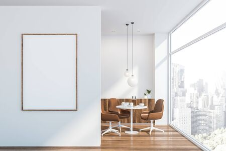 Interior of modern dining room in Scandinavian style with white walls, wooden floor, round table with brown chairs and comfortable cupboard. Vertical mock up poster frame. 3d rendering Stock Photo