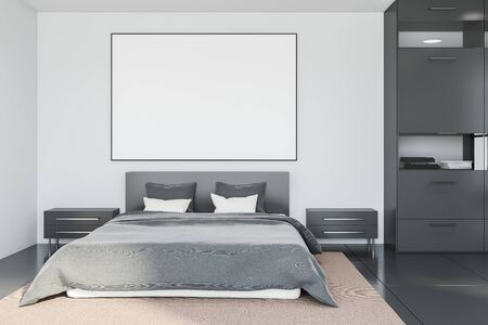 Interior of luxury bedroom with white walls, tiled floors, double bed standing on beige carpet with horizontal mock up poster frame above it and grey bookcase. 3d rendering Banco de Imagens