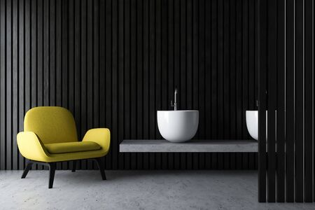Interior of modern bathroom with dark wooden walls, concrete floor, massive double sink standing on gray shelf and yellow armchair. 3d rendering Banco de Imagens