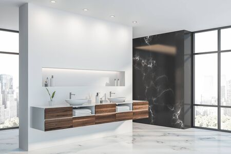 Corner of luxury bathroom with black marble and white walls, double sink standing on dark wooden countertop and shelf with creams above it. 3d rendering
