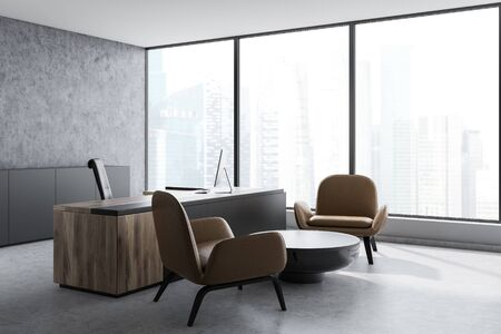 Corner of CEO office with concrete and white walls, black and wooden table with computer and coffee table with leather armchairs. 3d rendering