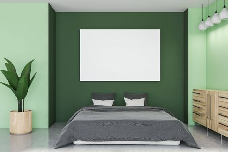 Interior of stylish bedroom with green walls, concrete floor, gray master bed, wooden cabinet and horizontal mock up poster. 3d rendering