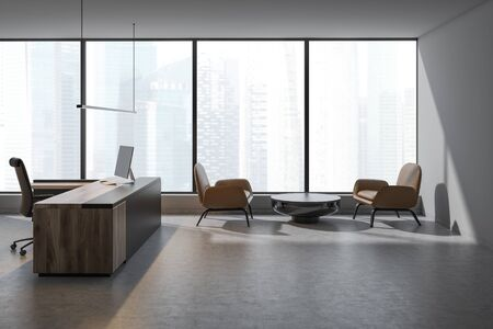 Interior of panoramic CEO office with white walls, concrete floor, gray and wooden computer table and round coffee table with leather armchairs. 3d rendering