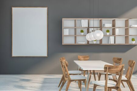 Interior of modern dining room with gray walls, white wooden floor, white table with chairs and bookshelves on the wall. Vertical mock up poster frame. 3d rendering Stock Photo