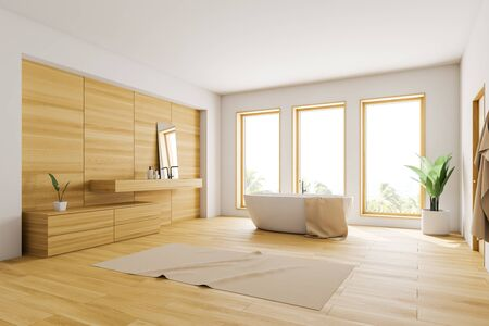 Corner of loft bathroom with white and wooden walls, wooden floor, white bathtub standing near three windows and wooden sink with mirror. 3d rendering