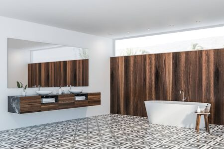 Corner of modern bathroom with white and dark wooden walls, tiled floor, double sink with large mirror above it and white bathtub. 3d rendering Banco de Imagens
