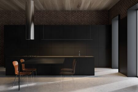 Interior of modern kitchen with black walls, concrete floor, wooden ceiling and black dining table with orange chairs. 3d rendering Standard-Bild - 124974520