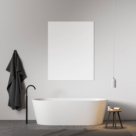Interior of minimalistic bathroom with white walls, concrete floor, white bathtub and vertical mock up poster above it. 3d rendering