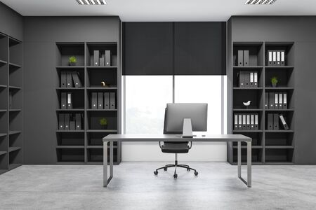 Interior of modern manager office with concrete floor, large window, gray computer table and dark gray bookcases with folders. Concept of corporate work. 3d rendering Stock Photo