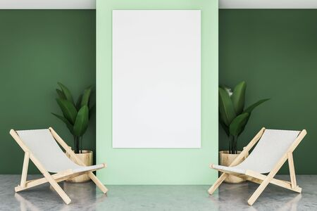 Interior of minimalistic living room with green walls, concrete floor, two armchairs and vertical mock up poster between them on the wall. 3d rendering Imagens