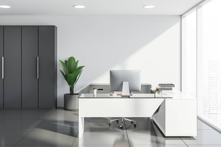 Interior of modern manager office with white walls, tiled floors, panoramic window, white computer desk, gray cabinet and wardrobe. Concept of corporate lifestyle. 3d rendering