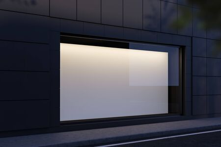 Side view of blank horizontal mock up poster hanging in shop window at night. Concept of advertising and marketing. 3d rendering 版權商用圖片