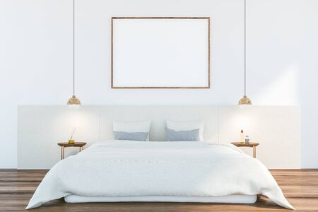 Interior of minimalistic master bedroom with white walls, wooden floor, double bed with gray pillows and two round bedside tables with lamps above them. Horizontal mock up poster frame. 3d rendering