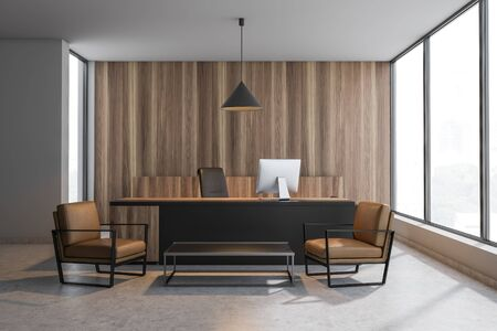 Interior of CEO office with white and wooden walls, concrete floor, black and wooden computer table and coffee table with leather armchairs. 3d rendering