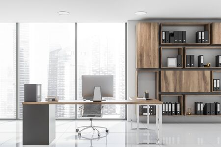 Panoramic CEO office interior with white walls, tiled floor, wooden computer table and bookcase with folders. 3d rendering