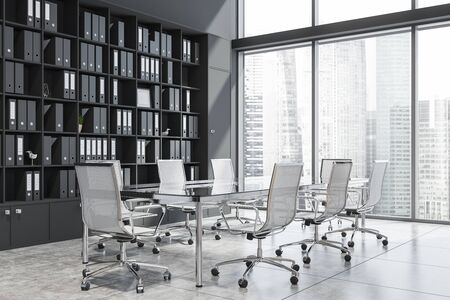 Conference room corner with black walls, glass meeting table with white chairs and black bookcase with folders. Concept of discussion. 3d rendering
