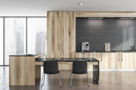 Interior of comfortable kitchen with gray walls, tiled floor, wooden countertops with built in cooker and luxury black marble table with chairs. 3d rendering