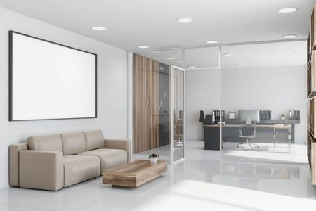 Interior of CEO office with white walls, tiled floor, wooden computer desk and lounge area with beige sofa and coffee table and horizontal mock up poster frame in the hall. 3d rendering