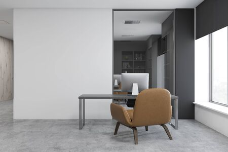 Interior of CEO office with white and gray walls, concrete floor, gray computer desk and leather armchair for visitor. 3d rendering Banco de Imagens
