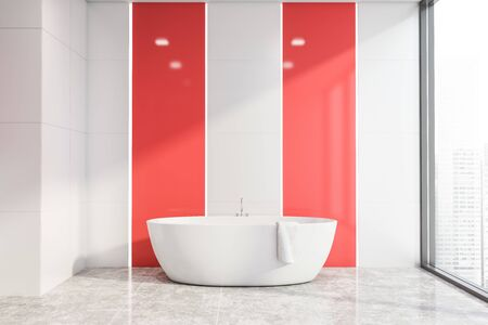 Interior of panoramic bright bathroom with white tile and red walls, concrete floor and comfortable bathtub with towel on it. 3d rendering