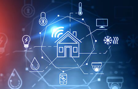Glowing smart home icons over blue and red background. Concept of automation and hi tech. 3d rendering toned image double exposure Stok Fotoğraf