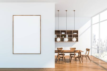 Interior of modern dining room with white walls, wooden floor, dark wooden table with chairs and bookshelves on the wall. Vertical mock up poster on the wall. 3d rendering
