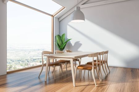 Scandinavian dining room interior with white walls, wooden floor, long wooden table with chairs, large window and plant in the corner. 3d rendering Stok Fotoğraf