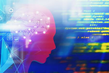 Silhouette of man head with electronic brain and blurred lines of code over dark blue background. Concept of artificial intelligence. 3d rendering toned image double exposure