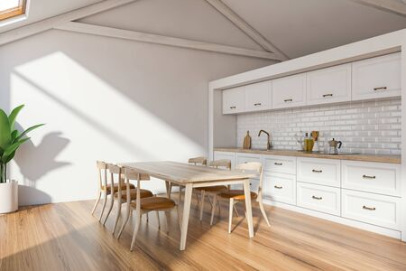 Interior of Scandinavian kitchen with white walls, wooden floor, white countertops with sink and cooker and wooden table with chairs. 3d rendering Stock Photo