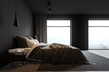 Side view of loft master bedroom with gray walls, concrete floor, double bed, bedside table with books and large windows with mountain view. 3d rendering