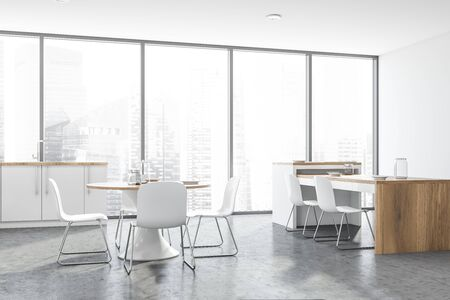 Corner of panoramic kitchen with concrete floor, white countertops with built in sink and two tables with chairs. 3d rendering