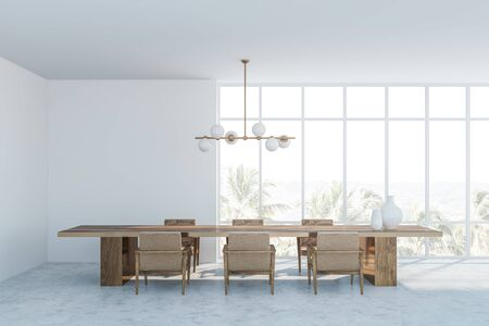 Interior of panoramic dining room with white walls, concrete floor, dark wooden table with armchairs and stylish lamp. 3d rendering